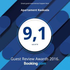 Certyfikat Guest Rewiev Award 2016 Apartament Szczecin